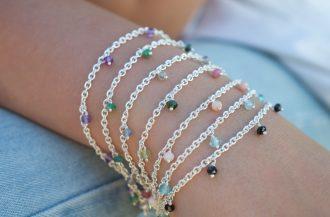 Girlanden Armbänder mit Amethyst Smaragd Labradorit Turmalin Apatit und Spinell