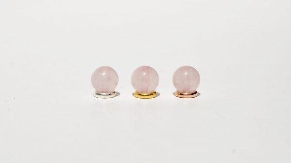 Rosenquarz kombiniert mit 925 Silber vergoldet und rosé-vergoldet