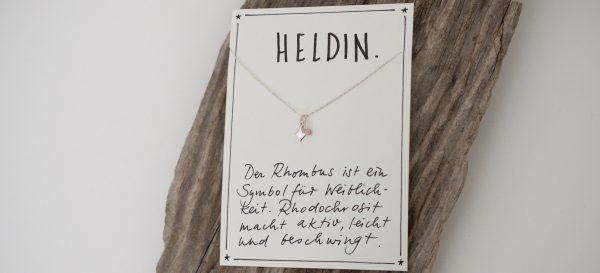 Halskette mit Rhodochrosit und Rhombus Symbol der Weiblichkeit aus 925 Silber